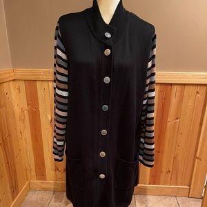 BOB MACKIE long black cardigan sweater size 1X